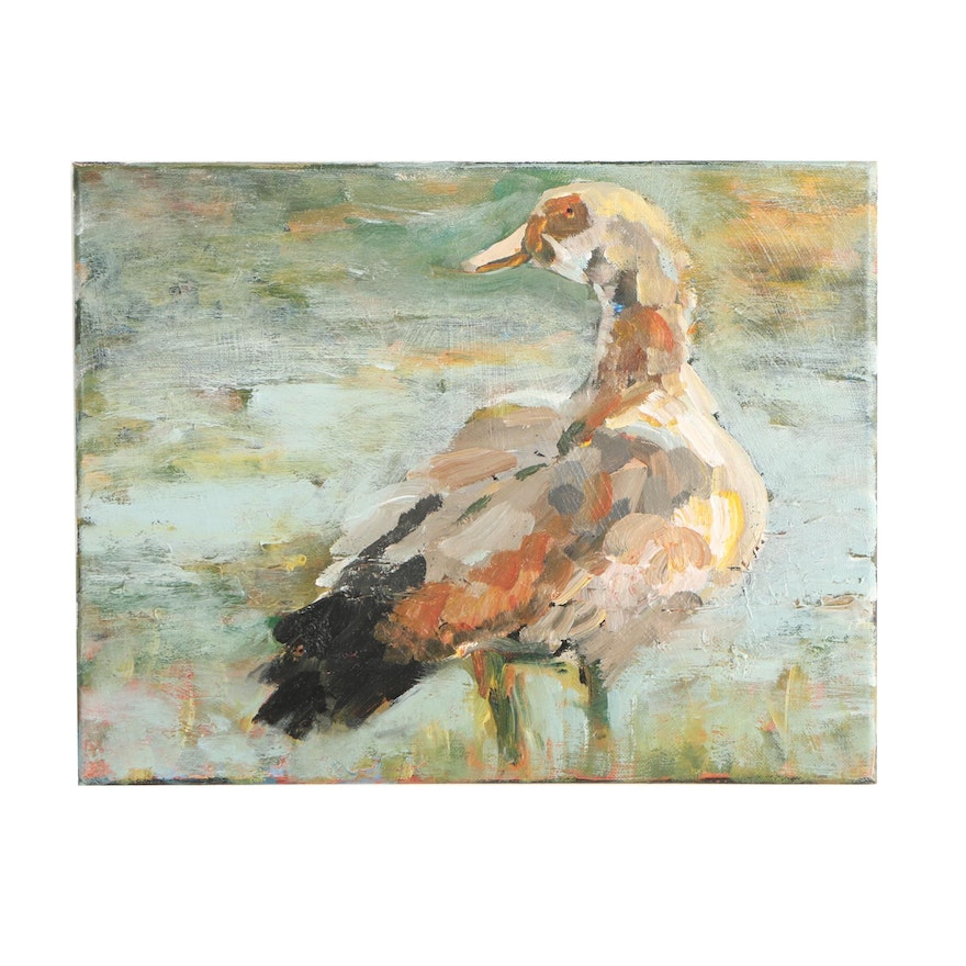Elle Raines Acrylic Painting of a Duck