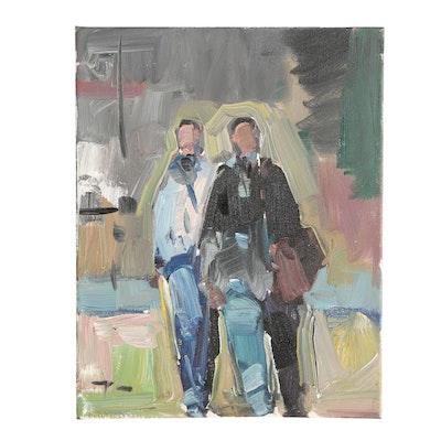 "Jose Trujillo Oil Painting ""Quiet Walk"""