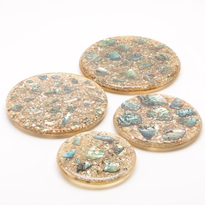 Lucite and Abalone Trivets, Mid-20th Century Vintage