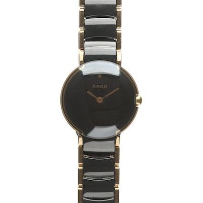 Rado Coupole Jubilee Gold Tone and Black Ceramic Quartz Wristwatch