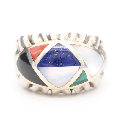 Asch Grossbardt Sterling Silver Multi-Gemstone Ring with 18K Gold Accents
