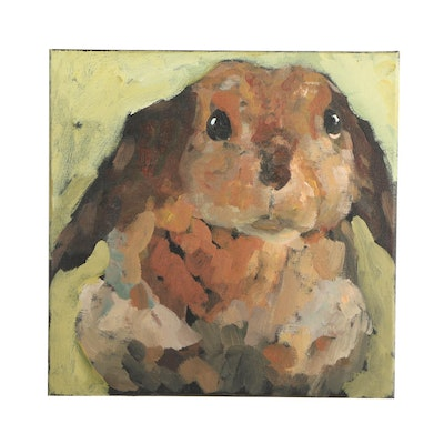 Elle Raines Acrylic Painting of a Rabbit