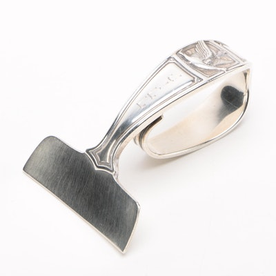 """Tiffany & Co. """"Mother Goose"""" Sterling Silver Baby Food Pusher, 1933-1947"""