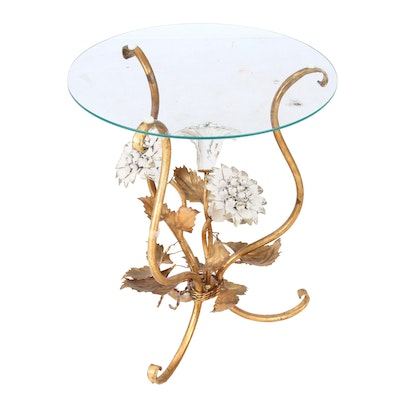 Tole Metal Occasional Table with Painted Flowers, Mid-20th Century