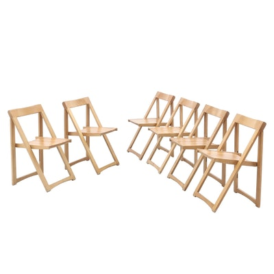 Six Wooden Folding Chairs, Mid to Late 20th Century