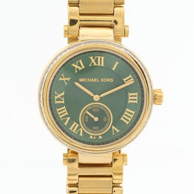 Michael Kors Skylar Gold Tone Quartz Wristwatch With Glass Crystal Bezel