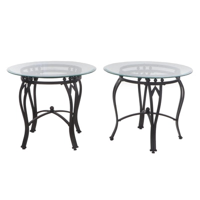 Pair of Contemporary Metal and Glass Top Side Tables