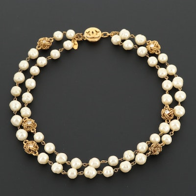 Chanel Double Stranded Necklace with Rhinestone Accents