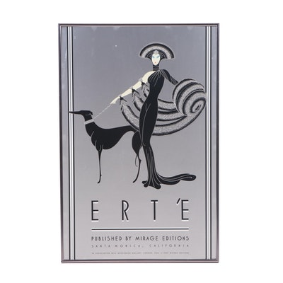 """Mirage Editions Serigraph Poster after Erté """"Symphony in Black"""""""
