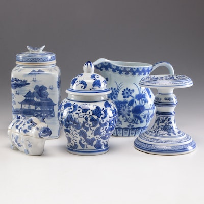 Chinese Porcelain Pitcher, Compote, Ginger Jars, with Dish, Mid 20th-Century