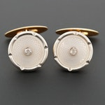 Platinum and 18K Yellow Gold Diamond and Mother of Pearl Cufflinks