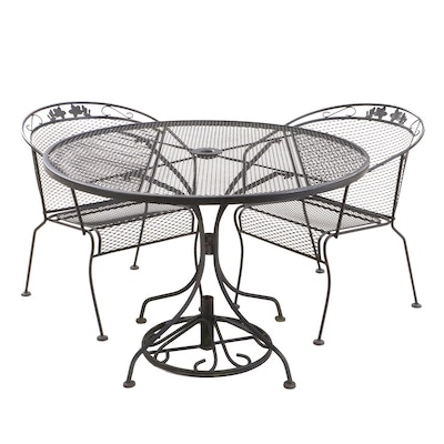 Wrought Iron and Mesh Patio Bistro Set with Umbrella Stand, Contemporary