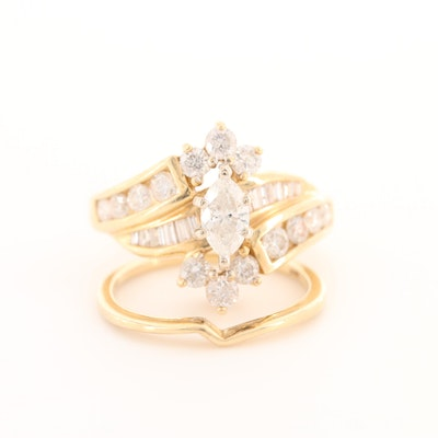 14K Yellow Gold 1.45 CTW Diamond Ring with Shadow Band