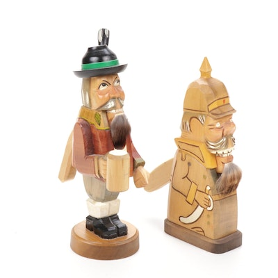 Rustic Hand Carved Wooden Nutcrackers