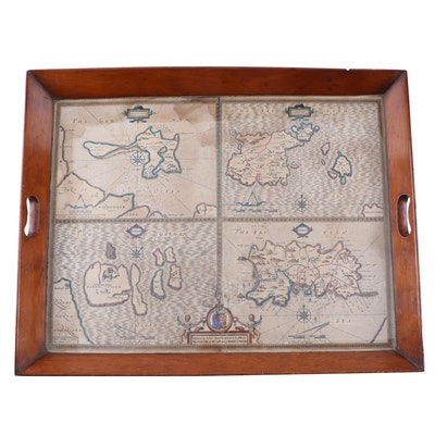 19th Century Tray with 17th Century Map of the Channel Islands by John Speed