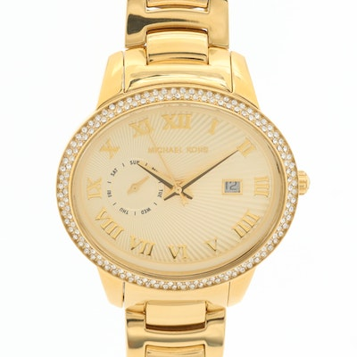 Michael Kors Whitley Gold Tone Quartz Day - Date Wristwatch With Glass Crystals
