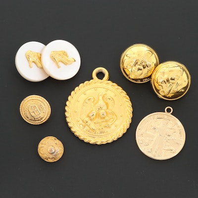 Buttons and Pendants Including Slavatore Ferragamo and Mother of Pearl