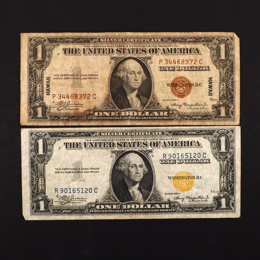 Two Wartime $1 Silver Certificates, Brown Seal and Yellow Seal
