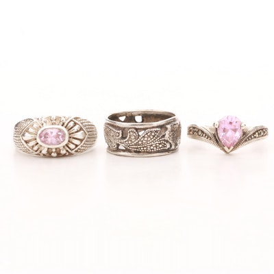Sterling Silver Cubic Zirconia and Marcasite Rings