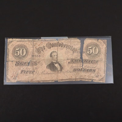 A Confederate States of America $50 Obsolete Banknote, 1861