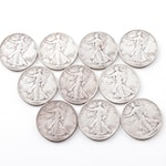 Ten Walking Liberty Silver Half Dollars From the 1940s