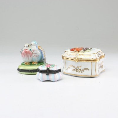 Limoges Hand-Painted Porcelain Trinket Boxes Including Fontanille & Marraud