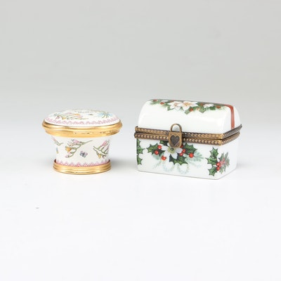 Gerard Ribierre Limoges and Halcyon Days Hand-Painted Trinket Boxes