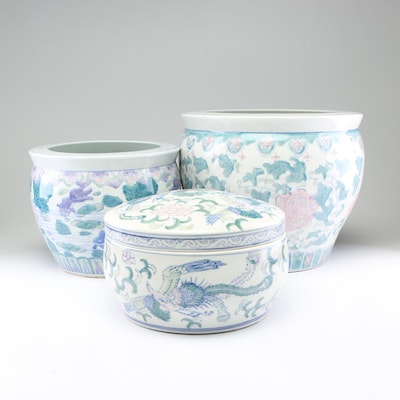 Chinese Floral Motif Ceramic Planters