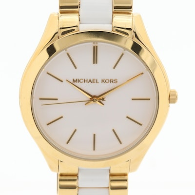 Michael Kors Slim Runway Gold Tone Quartz Wristwatch