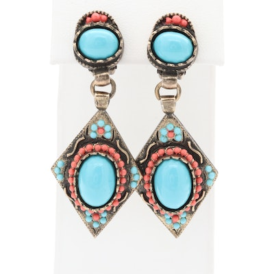 Vintage Hobé Imitation Turquoise and Enameled Earrings