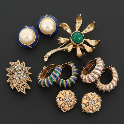 Collection of Ciner Earrings and a Les Barnard Articulated Brooch