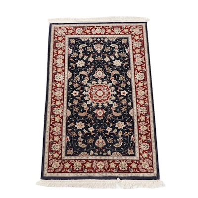 Hand-Knotted Kashan Wool Area Rug, Contemporary