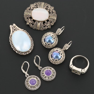 Sterling Silver Jewelry Including Amethyst, Cultured Pearl and Marcasite