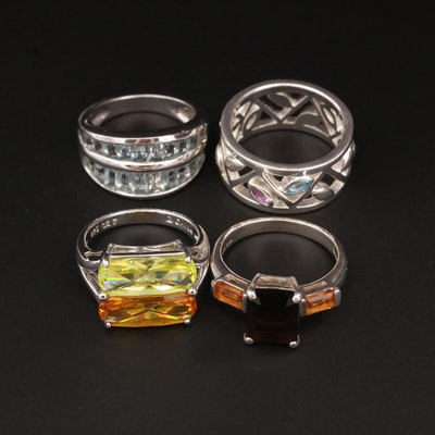 Sterling Silver Smoky Quartz, Citrine, and Cubic Zirconia Rings