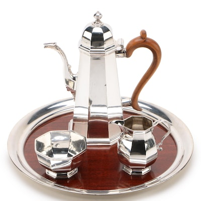 English Sterling Coffee Service with Boardman Tray, 1967