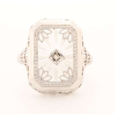 Art Deco 14K White Gold Diamond and Camphor Glass Ring