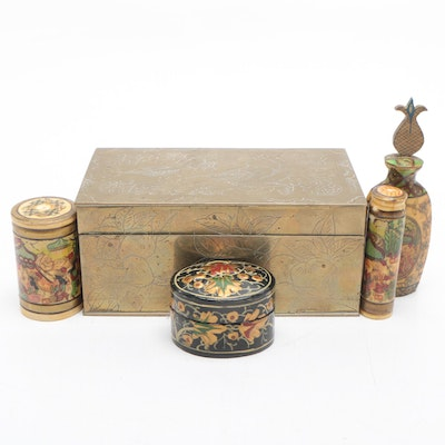Chinese Brass Trinket Box with Paper-Mache Snuff Bottles and Box, Early 20th-Ca