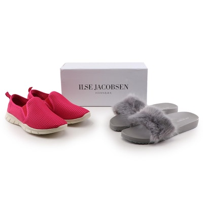 Ilse Jacobsen Fry Mineral Slides with Faux Fur and Peony Indian Red Sneakers