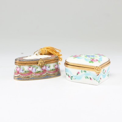 Limoges Hand-Painted Porcelain Trinket Boxes