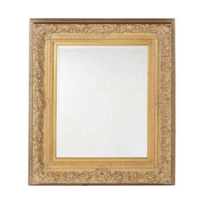 Baroque Style Gold Antiqued Wall Mirror, Contemporary