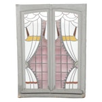 Deco Style Stained Glass Window with Faux Window Treatment Motif