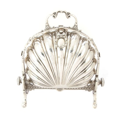 Silver Plate Folding Clamshell Biscuit Warmer, Late 19th Century