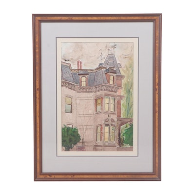 R. Harvied Watercolor Painting of a Victorian Style House