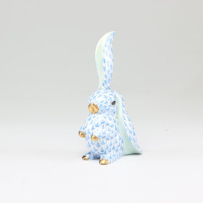 Herend Porcelain Blue Fishnet Bunny Figurine