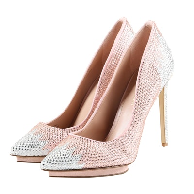 Enzo Angiolini Pink and Silver Rhinestone Embellished Stiletto Pumps
