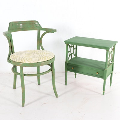 Painted Telephone Table and Chair, Mid-20th Century