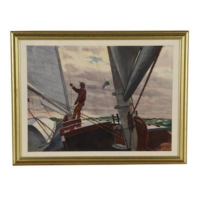 "Edmond J. Fitzgerald Watercolor Painting ""Sailing Alone"""