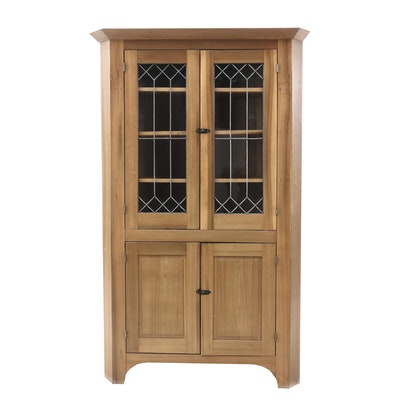 Early Poplar Corner Cupboard with Leaded Glass