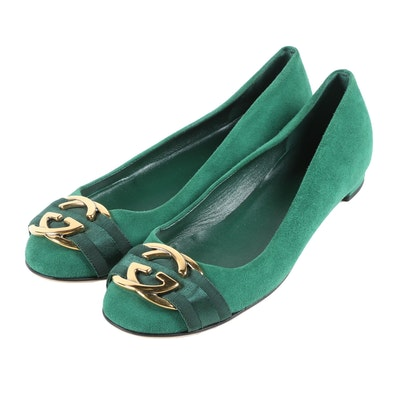 Gucci Interlocking GG Ballet Flats in Green Suede with Silk Ribbon