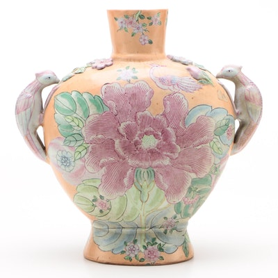 Chinese Hand-Painted Earthenware Vase with Dimensional Florals and Phoenix